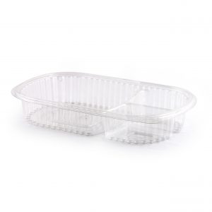 DeliView, 18/4/4 oz 3-Compartment Clear Rectangular Platter