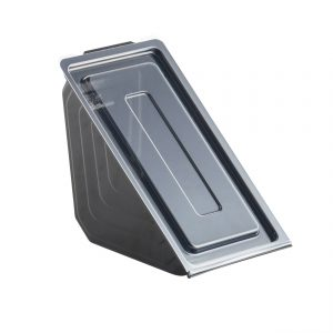 Deli View DVH1101B - Sandwich Wedge Hinged RPET Container One Compartment Black Base/Flat Clear Lid