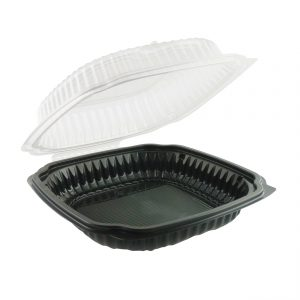 """Culinary Lites CL9911 - 9"""" x 9"""" Square Hinged Clamshell Polypropylene Container 39 oz Microwavable One Compartment Black Base With One Compartment Clear Anti-Fog Tear-Away Lid"""