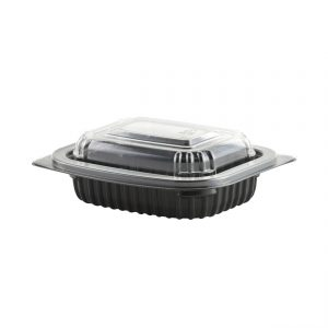 """MicroRaves CDM408B-LC4SD - 6"""" x 5"""" Rectangle Combo Pack 8 oz Microwavable One Compartment Black Base And One Compartment Clear Anti-Fog RPET Lid"""