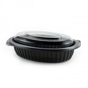 """MicroRaves CDM916B-LC9D - 8"""" Oval 16 oz Microwavable Black Base And Clear Anti-Fog PETE Lid Combo Pack"""