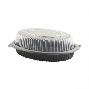 """Premium Roaster CDM1180-LH1180D - 10.5"""" x 8"""" Oval Large Roaster Microwavable Black Base and Clear Anti-Fog Low Dome Lid PolypropyleneCombo Pack"""