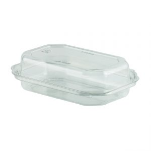 """DeliView DV3712 - 7"""" x 5"""" Rectangle Hinged One Compartment Container 12 oz PETE Clear Base with Clear Lid Snack Tray"""