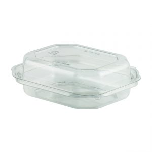 """Deli ViewTM DV3708 6"""" x 5"""" Rectangle Hinged Container 8 oz PETE One Compartment Clear Base with Clear Lid Snack Tray"""
