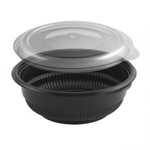 """Incredi-Bowls CDM5816-LH5800D 5.75"""" Round Bowl 12-16 oz Microwavable Polyproylene Black Base And Clear Lid Anti-Fog Combo Pack"""