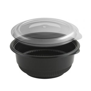 """Incredi-Bowls® CDM5820-LH5800D - 5.75"""" Round Bowl16-20 oz Microwavable Black Base And Clear Anti-Fog Polypropylene Lid Combo Pack"""