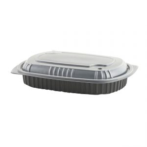 """MicroRaves CDM710-LH710D - 10"""" x 7"""" Rectangle 32 oz Microwavable One Compartment Black Base And One Compartment Clear Anti-Fog PP Lid Combo Pack"""