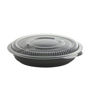 "Incredi-Bowls CDM8532B - 8.5"" Round Bowl 32 oz Microwavable Polyproylene Black Base And Clear Lid Anti-Fog Combo Pack"
