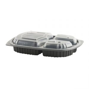 """MicroRaves CDM713-LH713D - 10"""" x 7"""" Rectangle 15/5/5 oz Microwavable Three Compartment Black Base and Three Compartment Clear Lid Anti-Fog Polypropylene Combo Pack"""