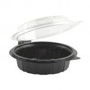 "Gourmet Classic 6"" Clear Dome/Black Base Hinged Shallow Clamshell"