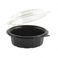 "Gourmet Classic 6"" Clear Dome/Black Base Hinged Deep Clamshell"