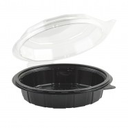 "Gourmet Classic 7.5"" Clear Dome/Black Base Hinged Shallow Clamshell"