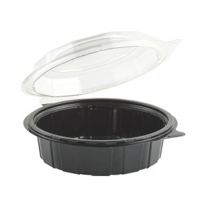 "Gourmet Classic 7.5"" Clear Dome/Black Base Hinged Deep Clamshell"