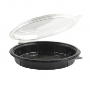 "Gourmet Classic 9"" Clear Dome/Black Base Hinged Shallow Clamshell"