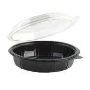 "Gourmet Classic 9"" Clear Dome/Black Base Hinged Deep Clamshell"