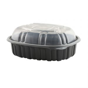 """Nature's Best 4110650 - 9.5"""" x 7.5"""" Oval Large Roaster Microwavable Black Base And Clear Anti-Fog Low Polypropylene Lid Combo Pack"""
