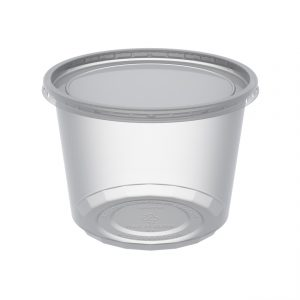 """MicroLite CD16CXL - 4.5"""" Round Combo Pack 16 oz Microwavable Clear Deli Cup Base And Clear Flat PP Lid, Inside Fit"""