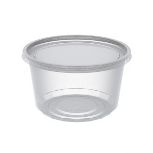 """MicroLite CD12CXL - 4.5"""" Round Combo Pack 12 oz Microwavable Clear Deli Cup Base And Clear Flat Polypropylene Lid, Inside Fit"""