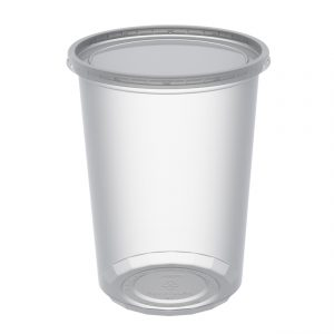 """4.5"""" Round Combo Pack 32 oz Microwavable Clear Deli Cup Base And Clear Flat Polypropylene Lid, Inside Fit"""