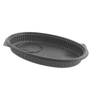 """Embraceable M1825B - 10"""" x 8"""" Oval Polypropylene Container 25 oz Microwavable One Compartment Platter with Black Cup Holder"""
