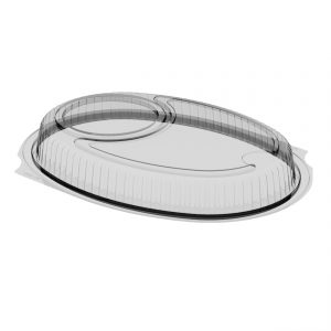 """Embraceable LH1835 - 10"""" x 8"""" Oval Lid Microwavable Clear Anti-Fog Polypropylene Cup Holder, Fits M1825B"""