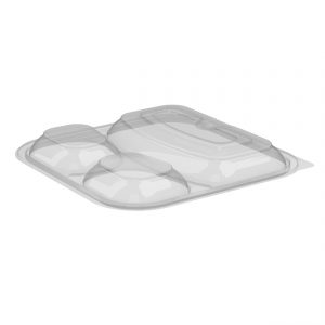 Culinary Squares CS85LH3 Clear 3-comp Anti-Fog Vented MW  Dome Lid
