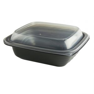 """MicroRaves CDM616-LH600 - 7"""" x 6"""" Rectangle16 oz Microwavable One Compartment. Black Base And One Compartment Clear Anti-Fog PP Lid Combo Pack"""