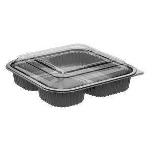 """Culinary Squares CDCS85323-CS85LH1 - 8"""" Square Polypropylene 21/6/6 oz Microwavable Three Compartment Black Base And One Compartment Clear Anti-Fog Lid Combo Pack"""