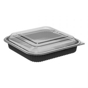 """Culinary Squares CDCS85321-CS85LH1 8"""" Square 36 oz Microwavable Polypropylene One Compartment Black Base And One Compartment Clear Anti-Fog Lid Combo Pack"""