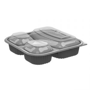 """Culinary Squares CDCS85323-CS85LH3 - 8"""" Square 21/6/6 oz Microwavable Three Compartment Black Base And Three Compartment Clear Anti-Fog Polypropylene Lid Combo Pack"""