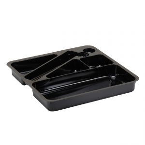 Black Executive Meal Tray Insert, Tri/Rectangular Comp.