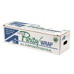 "Purity Wrap PW181 - 18"" x 1,000' Roll PVC Cling FilmCutter Box"
