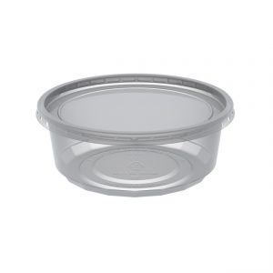 """MicroLite CD08CR - 4.5"""" Round Combo Pack 8 oz Microwavable Clear Deli Cup Base And Clear Flat Polypropylene Lid, Inside Fit"""