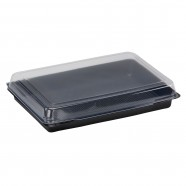 Full Meal Tray, Black Base / Hinged Clear Lid
