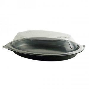 "Snap 'N Go CDM1178 - 10"" x 8"" Oval 16 oz Microwavable Black Platter Base And Clear Anti-Fog Polypropylene Lid Combo Pack"