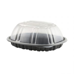 """Nature's Best 4110750 - 9.5"""" x 7.5"""" Oval large Roaster Microwavable Black Shallow Base And Clear Anti-Fog High Polypropylene Lid Combo Pack"""