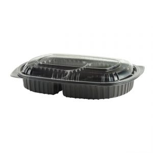 """MicroRaves CDM713-LC710D - 10"""" x 7"""" Rectangle 15/5/5 oz Microwavable Three Compartment Black Base And One Compartment Clear Anti-Fog RPET Lid Combo Pack"""