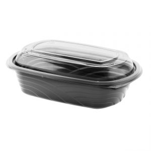 """MicroRaves CDM432-LC4LD - 9"""" x 6"""" Rectangle 32 oz Microwavable One Compartment Black Base And One Compartment Clear Anti-Fog RPET Lid Combo Pack"""