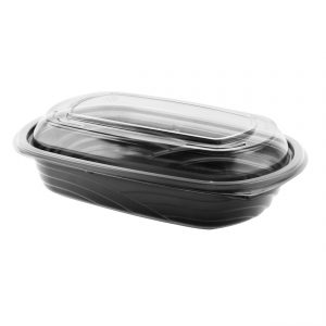 """MicroRaves® CDM424-LC4LD - 9"""" x 6"""" Rectangle Combo Pack 24 oz Microwavable One Compartment Black Base And One Compartment Clear Anti-Fog RPET Lid"""