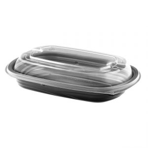 """MicroRaves CDM416-LH4LD - 9"""" x 6"""" Rectangle Combo Pack 16 oz Microwavable One Compartment Black Base And One Compartment Clear Anti-Fog Polypropylene Lid"""