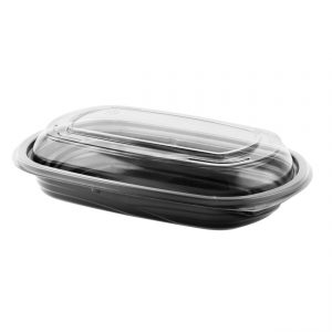 """MicroRaves CDM416-LC4LD 9"""" x 6"""" Rectangle Combo Pack 16 oz Microwavable One Compartment Black Base And One CompartmentClear Anti-Fog RPET Lid"""