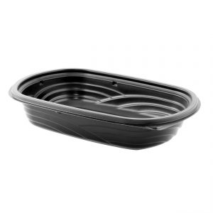 """MicroRaves M424 - 9"""" x 6"""" Rectangle Container 16 oz Microwavable One Compartment Black Base"""