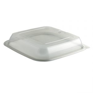 """Culinary Squares CS85LHX1 - 8"""" Square Lid Microwavable One Compartment Polypropylene Clear Deep Anti-Fog, Fits CS85321, CS85323"""