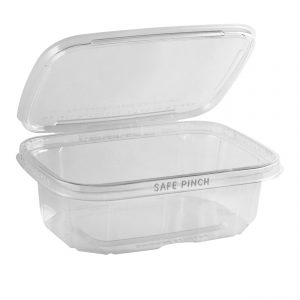"""Safe Pinch TE6724 - 6"""" x 7"""" Rectangle Hinged Container 24 oz Tamper Evident Clear Base With Clear Lid RPET Pinch To Open"""