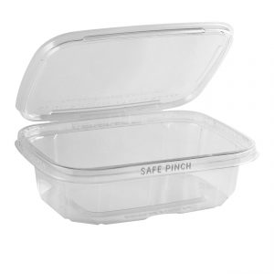 """Safe Pinch TE6720 - 6"""" x 7"""" Rectangle Hinged Container 20 oz Tamper Evident Clear Base With Clear Lid RPET Pinch To Open"""