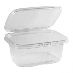 """Safe Pinch TE6732 - 6"""" x 7"""" Rectangle Hinged Container 32 oz Tamper Evident Clear Base With Clear Lid RPET Pinch to Open"""