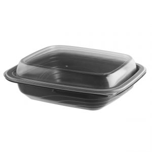 """MicroRaves CDM612-LH600 - 7"""" x 6"""" Rectangle 12 oz Microwavable 1-Comp. Black BaseAnd 1-Comp. Clear Anti-Fog PP Lid Combo Pack"""