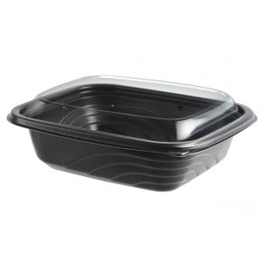 """MicroRaves CDM616-LC600 - 7"""" x 6"""" Rectangle 16 oz Microwavable 1-Comp. Black BaseAnd 1-Comp. Clear Anti-Fog RPET Lid Combo Pack"""