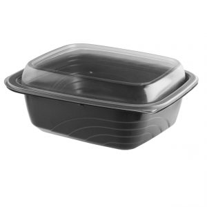 """MicroRaves CDM620-LH600 - 7"""" x 6"""" Rectangle 20 oz Microwavable One Compartment Black Base And One Compartment Clear Anti-Fog Polypropylene Lid Combo Pack"""
