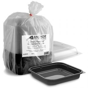 """Culinary Squares CDCS85323-CS85LHX1- 8"""" Square 21/6/6 oz Microwavable Polypropylene Three Compartment Black Base And One Compartment Clear Anti-Fog Lid Combo Pack Retail Pack"""